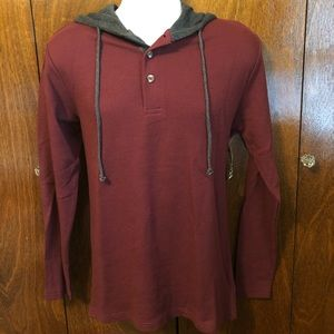 Other - 🆕 NWT pullover waffle hoodie burgundy & grey